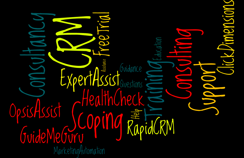 wordcloud of Opsis services (CRM consulting, CRM training, CRM support)